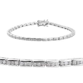 9K White Gold IGI CERTIFIED Diamond (Rnd) (I2-I3/H-I) Bracelet (Size 7.5), Gold wt: 11.08 Gms.