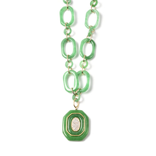 Green Jade and Natural Cambodian Zircon Adjustable Necklace (Size 20) with Magnetic Lock in yellow Gold Overlay Sterling Silver 86.90 Ct, Silver wt. 19.00 GmsSterling Silver