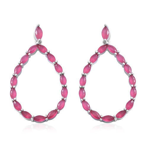ELANZA Simulated Ruby (Mrq) Drop Earrings in Rhodium Overlay Sterling Silver