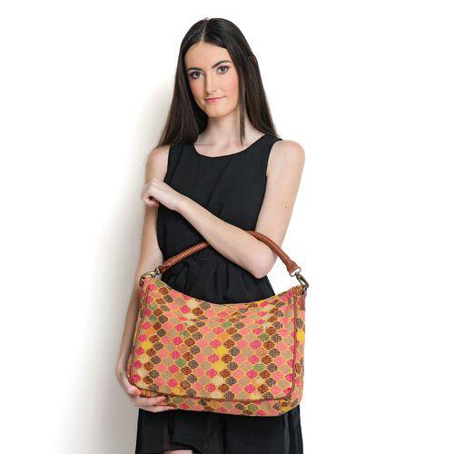 Tan and Multi Colour Jacquard Handbag with Removable Strap (Size 44x25x10 Cm )