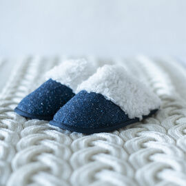 ARAN Tweed Slip-on Slippers with Fur Lining - Blue