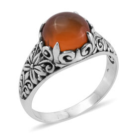 Royal Bali Collection Honey Jade (Rnd) Flower Ring in Oxidised Sterling Silver 4.750 Ct.