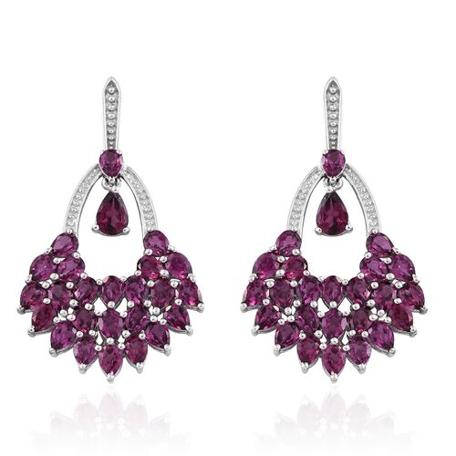 Designer Inspired - AAA Purple Garnet (Pear) Earrings (with Push Back) in Platinum Overlay Sterling Silver 10.250 Ct. Silver wt. 7.70 Gms.