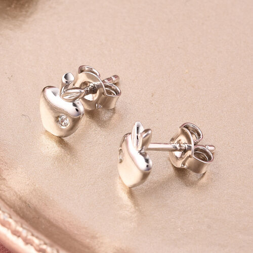 RACHEL GALLEY - Natural Cambodian Zircon Apple Stud Earrings (with Push Back) in Rhodium Overlay Sterling Silver