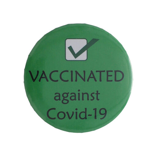 Vaccinated Badge in Green (Size- 4.5 CM)