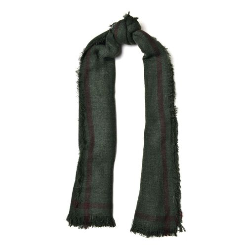 Green and Red Colour Scarf with Tassels (Size 190x60 Cm)