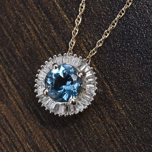 9K Yellow Gold AAA Santa Maria Aquamarine (Rnd 6mm), Diamond Pendant with Chain (Size 18) 1.00 Ct.
