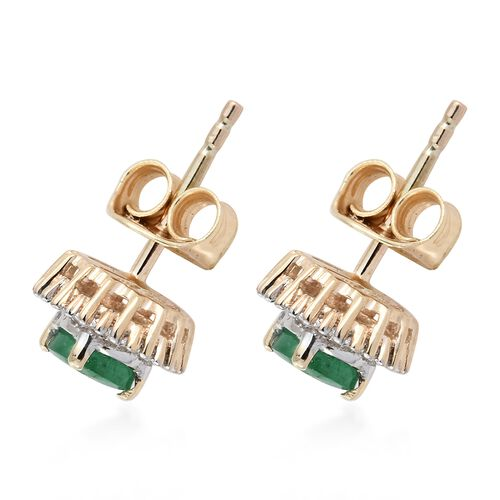 9K Yellow Gold AA Premium Santa Terezinha Emerald (Rnd), Diamond Stud Earrings (with Push Back) 1.000 Ct.