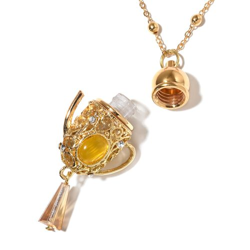 Simulated Champagne Diamond, Simulated Yellow Cats Eye Yellow and White Austrian Crystal Kettle Necklace (Size 27) in Yellow Gold Tone