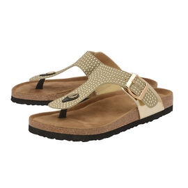 Dunlop Carmen Toe Post Flat Sandals in Gold Colour