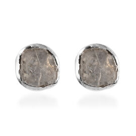 Polki Diamond Solitaire Stud Earrings with Push Back in Platinum Plated Sterling Silver