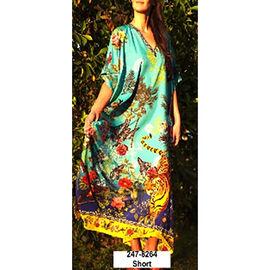 Winlar Floral Print Mint Colour Short V-Neck Kaftan (One Size)