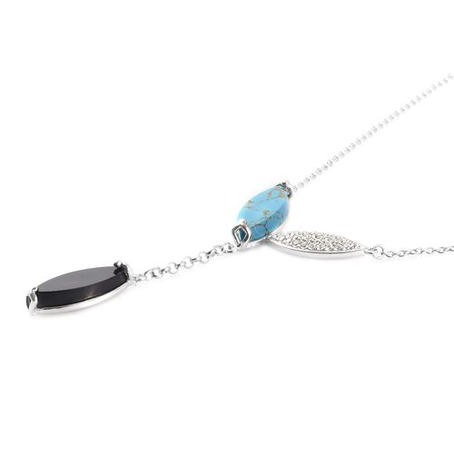 GP - Boi Ploi Black Spinel, Mojave Blue Turquoise and Multi Gemstone Necklace (Size 18) in Platinum Overlay Sterling Silver 10.05 Ct, Silver wt. 5.00 Gms