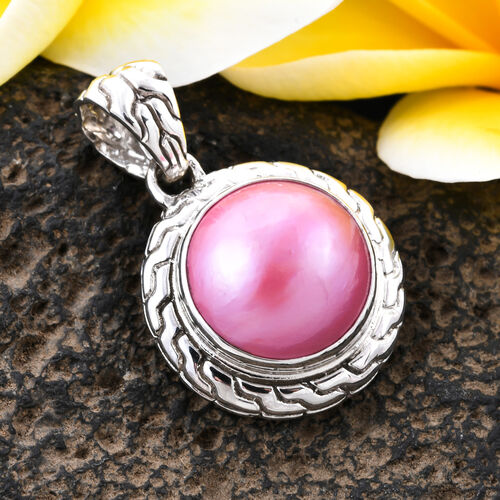 Royal Bali Collection - Pink Mabe Pearl Pendant in Sterling Silver, Silver wt 5.99 Gms