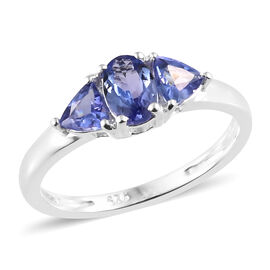One Time Deal- Tanzanite (Ovl) Three Stone Ring in Sterling Silver 1.000 Ct.