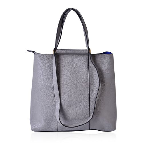 Dark Grey Colour Tote Bag with Shoulder Strap (Size 33x30.5x13.5 CM)