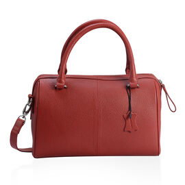 PREMIER COLLECTION Super Soft 100% Genuine Leather Ture Red Colour RFID Blocker Bowling Bag (Size 29x20x10 Cm)