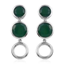 9.25 Ct Verde Onyx Connecting Circle Drop Earrings in Sterling Silver 5.7 Grams With Push Back