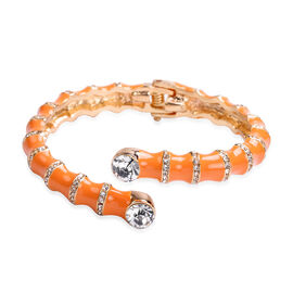 White Austrian Crystal, Orange Enamelled Cuff Bangle (Size 7)