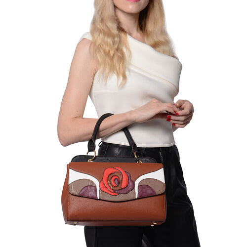 Rose Pattern Handbag with Adjustable and Detachable Shoulder Strap (30x18x13cm) - Tan