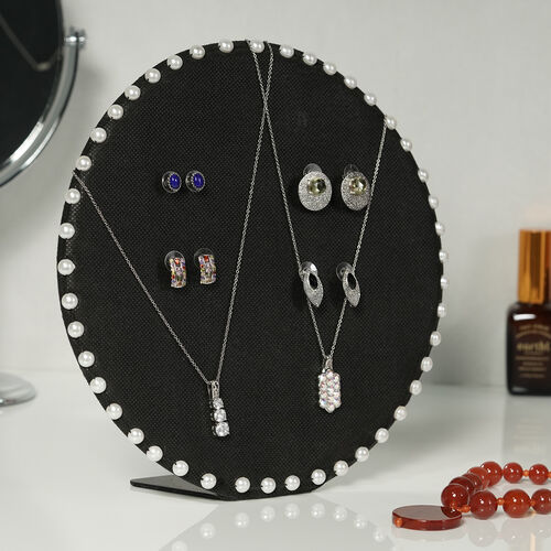 Table & Wall Jewellery Holder with Beaded Border (Colour: Black; Dimension: 25.5 x 25.5 x 7 cm.; Weight: Approx 550 grms.)