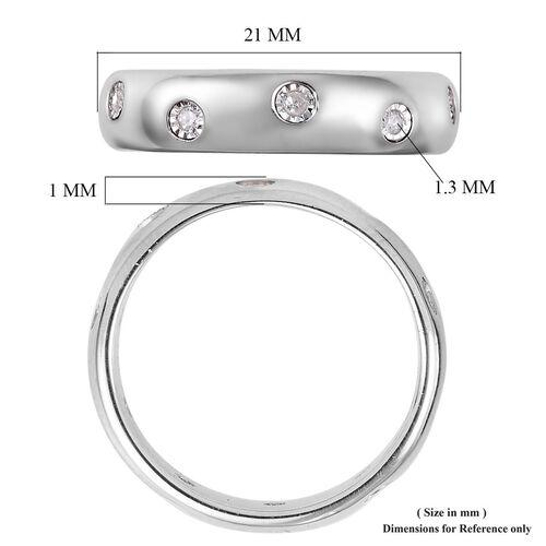 MP Designer Inspired- Flush Setting Diamond (Rnd) Band Ring in Platinum Overlay Sterling Silver
