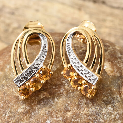 Brazilian Citrine (Rnd) Earrings ( With Push Back) in 14K Gold Overlay Sterling Silver 0.750  Ct.