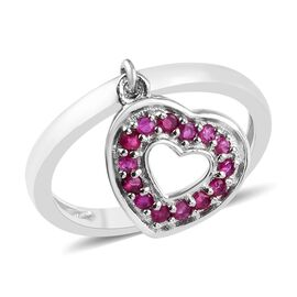 African Ruby (Rnd) Heart Charm Ring in Platinum Overlay Sterling Silver 0.50 Ct.