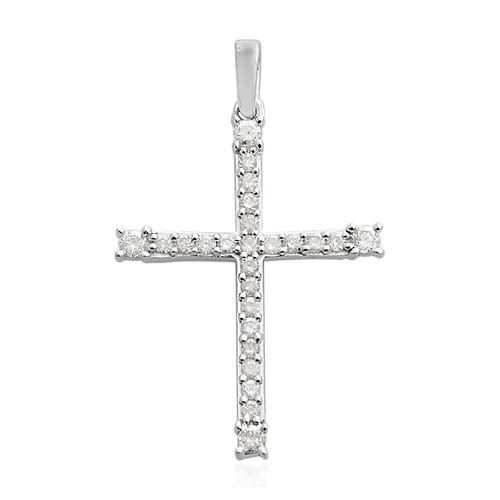 9K White Gold SGL Certified (I3/G-H) Diamond (Rnd) Cross Pendant 0.330 Ct.