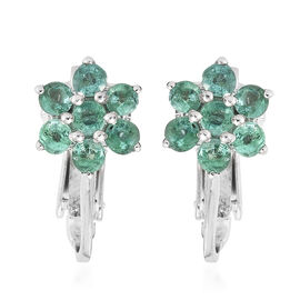 Kagem Zambian Emerald (Rnd) Flower Clip On Earrings in Platinum Overlay Sterling Silver 1.250 Ct.