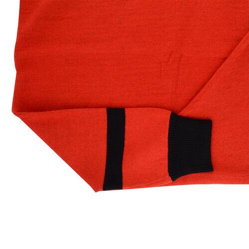 Kris Ana Coloured Border Cardigan One Size - Red/Black