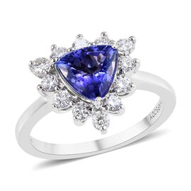 RHAPSODY 1.75 Ct AAAA Tanzanite and Diamond Halo Ring in 950 Platinum 5.35 Grams VS EF