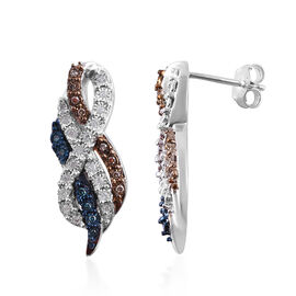 Blue, White and Natural Champagne Diamond (Rnd) Earrings (with Push Back) in Platinum Overlay Sterli