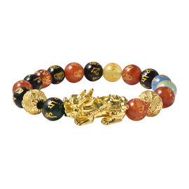Black Obsidian and Multi Agate Stretchable Bracelet (Size-6.5 - 7) in Yellow Tone
