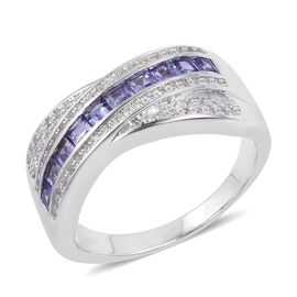 Tanzanite (Sqr), Natural Cambodian White Zircon Ring in Platinum Overlay Sterling Silver 1.280 Ct. S