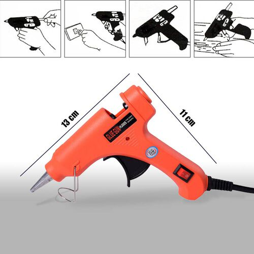 20 Watt Hot Melt Glue Gun Kit with 30pcs Glue Sticks for School DIY Art & Craft Projects and Home Quick Repairs (Size 13x11x3cm) - Red