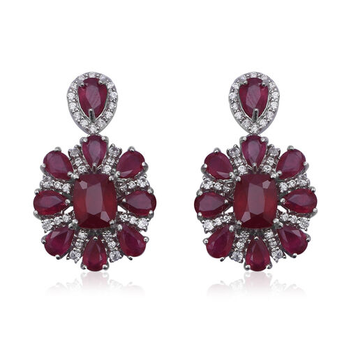 21.22 Ct African Ruby and White Zircon Floral Earrings in Rhodium Plated Sterling Silver 7.5 Grams