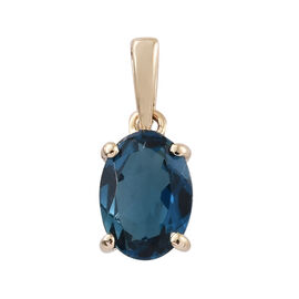 9K Yellow Gold AAA London Blue Topaz (Ovl) Pendant 0.900 Ct.