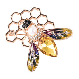 Simulated Champagne Diamond, Simulated Pearl, Black and White Austrian Crystal Honey Bee Brooch in G