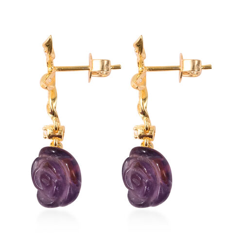 Jardin Collection - Amethyst and Natural Cambodian Zircon Rose Vine Drop Earrings (with Push Back) in Yellow Gold Overlay Sterling Silver 7.00 Ct.