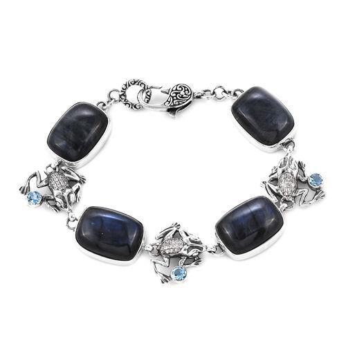 Bali Legacy 56.33 Ct Labradorite and Multi Gemstone Frog Link Bracelet in Sterling Silver 7.25 Inch