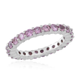 ILIANA 2 Carat AA Pink Sapphire Full Eternity Band Ring in 18K White Gold 4.50 Grams