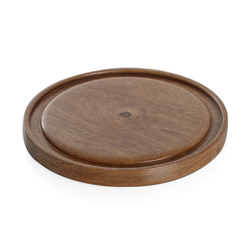 Dome Shape Wooden Cake Tray with Glass Lid (Size 18.5X14 Cm)