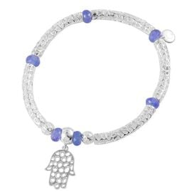 RACHEL GALLEY Sterling Silver Stranded Hand of Hamsa Bar Stretchable Bracelet with Tanzanite Beads (Size 8) 5.940 Ct., Silver wt 14.23 Gms.