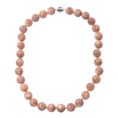 595.50 Ct Peach Moonstone Beaded Necklace in Rhodium Plated Sterling Silver 20 Inch