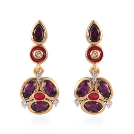 Purple Garnet and Natural Cambodian Zircon Enamelled Earrings (with Push Back) in 14K Gold Overlay S