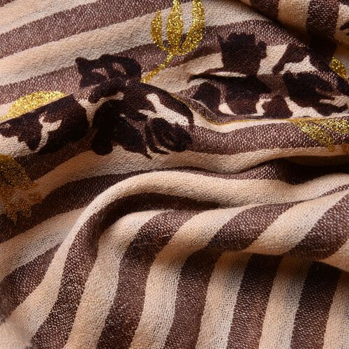 One Time Deal-100% Super Soft Wool Chocolate, Golden and Beige Colour Stripes and Rose Pattern Scarf with Fringes (Size 190X70 Cm)