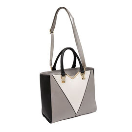 New Season - Colour Blocking Handbag with Removable Strap (28 x 31 x 16) - Grey
