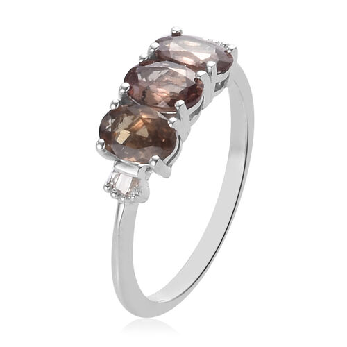 Colour Change Garnet and Diamond 3-Stone Ring in Platinum Overlay Sterling Silver 1.50 Ct.