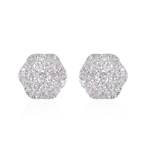Close Out Deal 14K White Gold Diamond (Rnd) (I1-I2/G-H) Stud Earrings (with Push Back) 0.75 Ct.